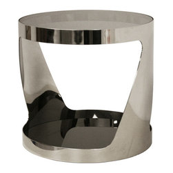 Wholesale Interiors - Genesis Steel and Tinted Glass Modern End Table - Sleek, urban, and refined, the Genesis Table takes contemporary to a new level. A circular stainless steel frame has a reflective polished luster and supports two surfaces: a transparent glass top in tinted smoke gray and a dark-tinted mirror bottom piece. Small non-marking feet are well-concealed and help protect sensitive floors. A matching coffee table is also available.