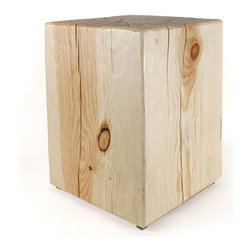 Pfeifer Studio - Solid Pine Cube Table - The beauty of natural wood is displayed in all its glory in this simple square side table. Handmade in the USA, the attention to detail shows in the textured finish and all-natural beeswax and lemon oil wood wax. Use one or a pair of these to add warmth to any room in your home.