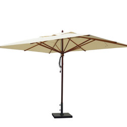 Greencorner - 10'x13' Mahogany Umbrella, Natural - 10'x13' Rectangle