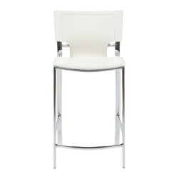 Euro Style - Vinnie Counter Chair (Set Of 2) - White Leather/Chrome - Leather might be at the top of your list and the Vinnie collection delivers. The clever uniqueness of these chairs is in the slim, cutaway leather on the seat back. It's a pleasing shape for a very popular grouping.