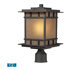Elk Lighting - Elk Lighting Newlton Outdoor Post Light with Weathered Charcoal X-DEL-1/41054 - The Newlton Collection Projects Clean Styling And Historic Character That Is Carried Through The Design Elements Of The Frame, Arm And Backplate.  The Lantern Is Constructed Of Solid Cast Aluminum, Finished In Weathered Charcoal For Long Lasting Durability. The Seeded Amber Linen Glass Portrays A Warm Ambiance To Your Outdoor Environment. - LED Offering Up To 800 Lumens (60 Watt Equivalent) With Full Range Dimming. Includes An Easily Replaceable LED Bulb (120V).