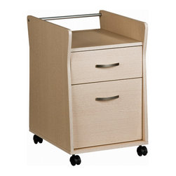 Techni Mobili - Techni Mobili Rolling File Cabinet in Ash - Rolling File Cabinet in Ash by Techni Mobli The Techni Mobili Rolling File Cabinet features raised sides providing for an open top shelf, a utility drawer, and a hanging file drawer. It is made with heavy-duty engineered wood panels with a moisture resistant PVC laminate veneer and a scratch-resistant powder-coated steel support rod. Double-wheel nylon casters offer additional support and easy mobility.  File Cabinet (1)