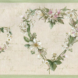 York Wallcoverings - Floral Wallpaper Border VC052242 - Wallpaper borders bring color, character and detail to a room with exciting new look for your walls - easier and quicker then ever.