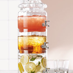 Stacked Optic-Glass Beverage Server - Glass beverage dispensers are stylish but normally take up a lot of table space when serving multiple beverages. This stacked server is perfect for solving the problem. I think it would be great to stack the glass in a way that allows multiple people to serve themselves at the same time.