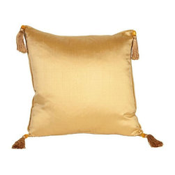 Silk Solid Gold 16x16 Pillow - Like a golden nugget of pillow goodness...Layering on the perfect throw pillow is the cherry on top for achieving an effortlessly styled effect in your room. This adorable 16x16 gold silk pillow features corner tassels, piping, and a hidden zipper on back. We have 6 pillows available. If you would like more than one, please contact support@chairish.com.