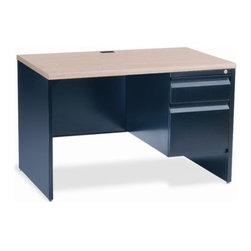 Virco - Right Side Single Pedestal Computer Desk - Features: -Single pedestal desk.-Right-side pedestal.-Box / file.-Laminated waterfall top.-Locking box.-No center drawer.-Sturdy steel-frame desk.-Provides dependable furniture support for classrooms and offices.-Laminate frame colors: Fusion maple top with black frame.-Distressed: No.Dimensions: -Overall dimensions: 29'' H x 30'' W x 45'' D.