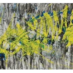 Movement (Original) by Dw Zakrzewski - Yellow and blues mixed by knife on top of black and white