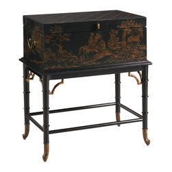 Henry Link - Lexington Henry Link Campaign Dispatch Box-on-Stand Table - The Campaign Dispatch Box-on-Stand Table by Henry Link Lexington Furniture features a Chinoiserie and ebony finish. This solid mahogany trunk table features hand-painted Chinoiserie over a carved rattan ebony base with gold tipping and an ebony finished interior. Solid brass porters handles, corner brackets and ferrules finish off this exquisite piece. This stylish and unique table is guaranteed to make a stunning addition to your homes decor.