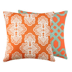 "Mango Tango 20x20"" Pillow l Chloe and Olive - With luxurious textures and a palette of juicy colors, fashion icon Lilly Pulitzer brings us an upscale collection of fabrics for the home decor. Two vibrant coordinating and complementing Lilly Pulitzer fabrics in one pillow."