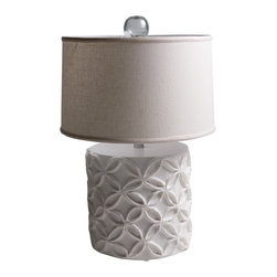 """Stray Dog Designs - Stray Dog Designs Katie White Table Lamp - Eco-friendly with a feminine touch, the Katie lamp's geometric flowers in relief are offset by its white linen shade. This chunky table lamp in bright white adds a pop of texture to a living room or bedroom. 18"""" Dia. x 28""""H; Papier-mache; White linen drum shade; Glass finial; Handcrafted by artisans from recycled materials; Finished with low VOC paint; Accepts 75W bulb (not included)"""