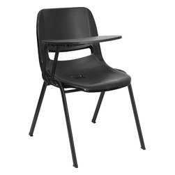 Flash Furniture - Flash Furniture Black Ergonomic Shell Chair with Right Handed Flip-up Tablet Arm - This is the perfect tablet arm chair for any classroom or training room setting. The simplistic design makes this Flash Furniture Tablet Arm Chair a versatile and welcomed addition to your school or in the home. This chair features a comfort-formed back and contoured seat with waterfall front. Along with a comfortable sitting experience you get the added security that this chair will endure the test of time.