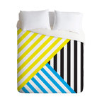 DENY Designs - Three Of The Possessed Wave TriColour Duvet Cover - Turn your basic, boring down comforter into the super stylish focal point of your bedroom. Our Luxe Duvet is made from a heavy-weight luxurious woven polyester with a 50% cotton/50% polyester cream bottom. It also includes a hidden zipper with interior corner ties to secure your comforter. it's comfy, fade-resistant, and custom printed for each and every customer.