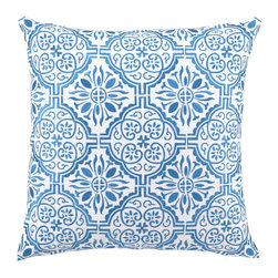 Barcelona Aquamarine Embroidered Pillow - This pattern recalls time-worn tile floors in the Mediterranean. Several colors are available, but this blue is my favorite.