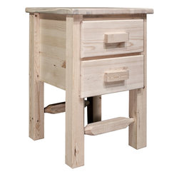"""Montana Woodworks - Homestead Nightstand with 2 Drawers, Ready to Finish - From Montana Woodworks, the largest manufacturer of handcrafted, heirloom quality rustic furnishings in America comes the Homestead Collection line of furniture products. Handcrafted in the mountains of Montana using solid, American grown wood, the artisans rough saw all the timbers and accessory trim pieces for a look uniquely reminiscent of the timber-framed homes once found on the American frontier. This taller, two drawer nightstand is just the right height for todays higher beds! The drawers measure 11.5"""" W x 16.5"""" D x 5.25"""" H (inside measurements). Comes fully assembled. 20-year limited warranty included at no additional charge.; Hand Crafted in Montana U.S.A.; Solid, U.S. grown genuine lodge pole pine wood; Timbers and Trim Pieces are Sawn Square for Rustic Timber Frame Design Appearance; Heirloom Quality; 20 Year Limited Warranty; Durable Build, Fit and Finish; Each Piece Signed By The Artisan Who Makes It; Solid Wood, Edge Glued Panels; Easy Glide Drawer Slides; Weight: 44 lbs; Dimensions: 20""""W x 20""""D x 30""""H"""