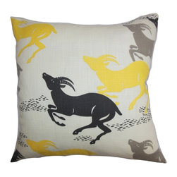 """The Pillow Collection - Naenia Animal Print  Pillow Yellow Gray 18"""" x 18"""" - Adorn your living room or bedroom with this fun and unconventional throw pillow. This plush accent pillow features a lovely animal print in shades of black, yellow and gray against a white background. This square pillow looks great when placed on top of the sofa, couch or seat. Mix and match this 18"""" pillow with other quirky prints from our pillow collection. Made of 100% soft and durable cotton fabric. Hidden zipper closure for easy cover removal.  Knife edge finish on all four sides.  Reversible pillow with the same fabric on the back side.  Spot cleaning suggested."""