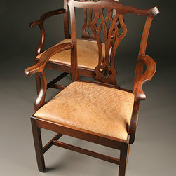 Antique Dining Chairs - Pair of antique 19th century English Chippendale style arm chairs made in Mahogany. $2850 for pair, $1485 each. Circa 1870.
