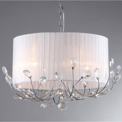 Warehouse of Tiffany - Robin Crystal Chandelier - Brighten any space while giving it a more contemporary look with this chrome crystal chandelier. The elegant chandelier is designed for indoors and has lovely crystal accents that make it sparkle. The white fabric shade makes it easy to match.