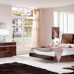Made in Italy Wood Modern High End Furniture - High gloss walnut finish bedroom with crocodile skin accents.