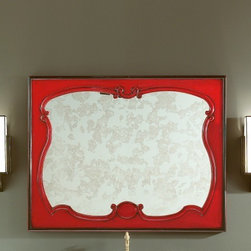 Home & Glamour Painted Mirror - Home & Glamour French Italian Wood Framed Designer Mirror Handmade in Red Cherrywood