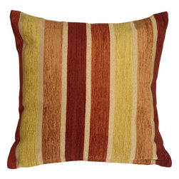 Pillow Decor Ltd. - Pillow Decor - Savannah Stripes 20 x 20 Yellow Orange Chenille Throw Pillow - This square pillow features soft chenille stripes woven into a sturdy upholstery grade fabric backing. A sure way to add warmth and charm to your home. *Pillow dimensions always refer to the pillow cover's width and length while lying flat unstuffed and are rounded up to the nearest whole inch.