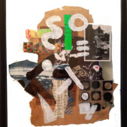 """Abstraction [2]"" (Original) By Elliott C  Nathan - I Created This Mixed Media Painting Through A Train Of Thought Painting Process Overlaid On A Collage Of Documents From The Early 1900'S, And Patterned Papers. It Hangs In A Clear Glass Frame."