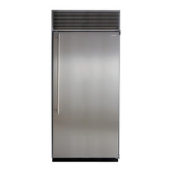 "Marvel - M36ARSPL 36"" All Refrigerator  with Full Extension Glide-Out Clear Crisper Drawe - These beautiful columns have the largest interior capacity on the market and are loaded with features Stainless Steel framed glass refrigerator shelves allow you to see whats beneath without bending over Full extension glide out clear crisper drawers..."