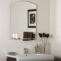 None - Vanessa Modern Bathroom Mirror - This simple modern bathroom mirror adds style to your home. The Vanessa mirror comes with the necessary invisible mounting hardware. You will find the little attached shelf convenient for your high-priority bathroom items or for your car keys.