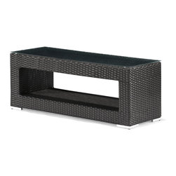 Zuo Modern - Algarve Coffee Table - Created with strong lines and sharp edges the Algarve series bring the complete package for all your entertaining needs. The body is made up of a synthetic weave that is UV resistant so it will stand up to any weather. It is re-enforced with an aluminum frame, which will not rust. The cushions are water resistant. The coffee table also comes with a tempered glass. When all the pieces of the collection are in place it will have the impression that you need when entertaining or relaxing.
