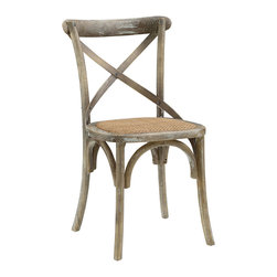 LexMod - Gear Dining Side Chair in Gray - Evoke rustic remembrances as you sip a leisurely tea or hearty breakfast.With an open wooden backrest and tapered legs, the chair provides that country charm without compromising on modernity. The chair comes fully assembled and is a pleasant addition to country cottages, rustic environs, or any urban dweller in search of a respite.