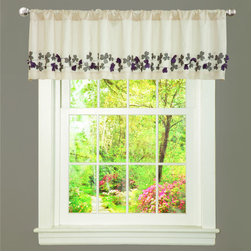 Lush Decor - Ivory/ Purple Faux Silk Flower Drop Window Valance - Add delicate charm to your window treatment with this faux silk floral window valance. Made from 100 percent faux silk polyester,this valance features a rod pocket construction and ivory background with a beautiful purple-and-gray floral design.