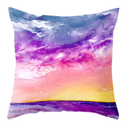 Brazen Design Studio - Decorative Pillow Cover - Tormenta - Ocean Throw Pillow Cushion, 16x16 - Liven up your space with a fine art pillow cover featuring my original artwork! This listing is for one pillow cover featuring my vibrant watercolor painting, on 100% spun designer polyester poplin fabric, a stylish statement to brighten up any room.