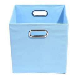 Modern Littles - Sky Solid Baby Blue Folding Storage Bin - Pack 'em up! Your kids will love to keep their toys in this fun, colorful storage bin. It easily slides under beds or cribs and folds flat for easy storage.
