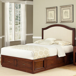 None - Duet Platform Queen Microfiber Inset Bed - Blend a comfortable night's sleep with convenient storage space in this platform queen bed that features spacious pull-out drawers. A rich cherry finish gives your room a warm look,and antiqued brass hardware adds extra vintage flair.