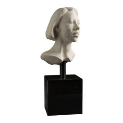 Bronzes by Janet - FEMALE PORTRAIT  ceramic sculpture - Presented in ceramic, this female beckons the viewer with her expression to come closer. This distinctive white ceramic bust adds neutral elements to complement any décor.