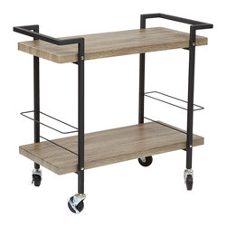Office Star - Office Star Maxwell Serving Cart in Ash Veneer and Black Steel - Maxwell Serving Cart in Ash Veneer Finish, Black Powder Coated Steel Frame by OSP Designs What's included: Serving Cart (1).