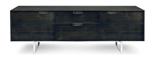 "Blu Dot - ""Blu Dot Series 11 2 Door/ 2 Drawer Console, Graphite on Oak"" - An elegant and refined approach with thin edges and thoughtful proportions. Subtle and inventive door pulls smoothly open and close drawers with contrasting FLW red interior. Available in graphite on oak or walnut with an alloy-plated stainless steel base. Series Eleven. When ten just isn't quite enough."