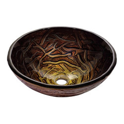 Kraus - Kraus Dryad Glass Vessel Sink - *Inspired by the intricate pattern of intertwined tree branches, the Dryad sink has a range of green and brown tones that harmonize beautifully with a calm, nature-inspired decor