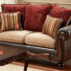 Chelsea Home - 69 in. Upholstered Loveseat - Includes toss pillows. Traditional style. Fringe, paisley and striped pattern contrasting pillows. Sofa in bi-cast brown fabric over high-density cover. Pillow in del ray taupe and milo cover. Seating comfort: Medium. Plush, rolled arms. Dacron wrapped foam reversible seat cushions. Zippered cushions. 8.5 gauge medium loop sinuous springs spaced 5 in. apart. 1.8 density foam with 0.75 of fiber wrapping. Ornately carved wood trim. Fabric contains: 100% polyester. Made from mixed hardwoods and plywood. Made in USA. No assembly required. Seat: 46 in. L x 25.5 in. W x 22 in. H. Overall: 69 in. L x 34 in. W x 36 in. H (135 lbs.)The Chelsea Home Furniture Shirley Collections brings sense of Victorian elegance to any living room area. This beautiful set, by Chelsea Home Furniture, epitomizes Chelseas legendary reputation for quality and comfort.