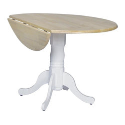 International Concepts - Round Dual Drop Leaf Pedestal Dinette Table - Expand your entertainment options with this round dual drop leaf pedestal table. Its white marble-like pedestal base features both curved and angular elements. While the base exudes elegance and grace, the round top in natural has two drop leaves to accommodates guests. Fold them down for a space-saving or intimate dining option in your kitchen. Dual drop leaf. Made of solid wood. Assembly required. 42 in. Dia. x 29.5 in. H (54 lbs.)