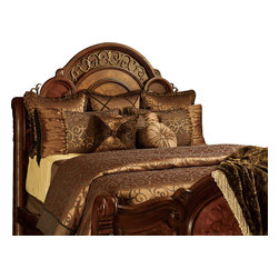 Mia Duvet Set, King - Chocolate and Copper colored Swirl Damask with a touch of Fur Enhanced with various styles of trim.