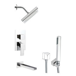 Remer - Square Modern Tub and Shower Faucet Set with Handheld Shower - Single function tub and shower faucet.