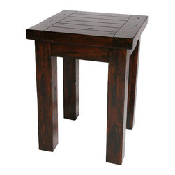 Hard Wood Square End Table - Modern Lodge Collection