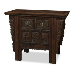 "China Furniture and Arts - Antique Elmwood Ning-Bo Desk - A hidden treasure for your home, this antique 80 year old solid Elmwood piece deceives the eye as a beautiful cabinet. At a closer look, a surprise is discovered when the center becomes a pull out chair (22.75""W x 18""D x 32""H) for the desk. A pullout shelf is built in for your writing needs. Discovered in the village of NingBo, Zhe Jiang Province China. This is a one-of-a kind item to admire."
