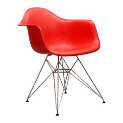 "East End Imports - Eifel Dining Chair Red - Wire Pyramid Armchairs are crafted out of molded plastic for the seat and a chromed steel wire ""pyramid"" base. Comfortable and versatile, this chair can be used to decorate any space."
