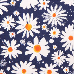 dark blue daisy flower fabric Robert Kaufman Petal - flower fabric by Margaret Berg from the USA with white daisies