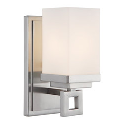 Golden Lighting - 1 Steel Light Wall Sconce in Pewter - Nelio - Clean lines and square details give this collection a contemporary feel. The square Cased Opal glass has two layers to evenly diffuse the light. Pewter finish compliments a multitude of bathroom hardware styles. Popularly used in halls, stairways, entries and as an accent. UL listed. Lamp location for use in bathroom or under an eave. Number of Sockets: 1. Max Wattage: 100W. Bulb Type: Incandescent, medium base. Glass Finish: Cased Opal. Glass Color: Metallic. Made of Steel / Glass. Glass Dimension: 3.37 in. Dia. x 5.62 in. H