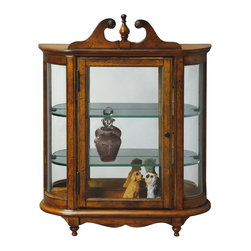 Butler Specialty - Butler Specialty Masterpiece Wall Curio in Vintage Oak - Butler Specialty - Curio Cabinets - 1927001 - This distinctive wall curio is both functional and beautiful with two adjustable glass shelves and a mirrored back to display your prized possessions. The curved glass sides make it very unique. The glass paneled door features antique brass finished hardware. This future heirloom is made of select solid woods and wood veneers.