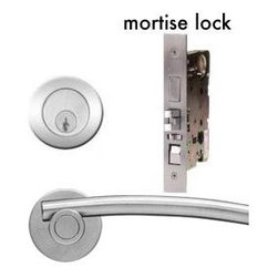 Mortise lock entry sets - Contemporary mortise lock set which gives you entry protection in style. Brushed satin stainless steel European finish with designer door handle.