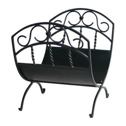 Uniflame - Wrought Iron Log Rack w Black Finish & Scroll - Keep your fire's fuel from rolling away with this stylish Log Rack!  Wide-mouth well is capable of holding plenty of logs.  Elegant, braided support posts show meticulous attention to detail.  Beautiful black finish also prevents excessive wear, scuffs and stains.  A must-have accessory for all serious fireplace enthusiasts. * Stylish Log Rack is Functional and Attractive. Maintains Fireplace Safety. Allows For Ease and Comfort with Fireplace Maintenance. 21 in. W x 17 in. H