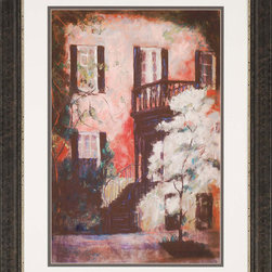 Paragon Decor - Savannah Stairs Artwork - Classic Savannah architecture highlights our exclusive Giclee.  Matted in white and framed in espresso finish molding.